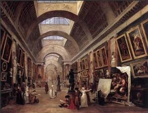 """Hubert Robert, Ansicht der """"großen Galerie"""" des Louvre, 1796, Louvre"""