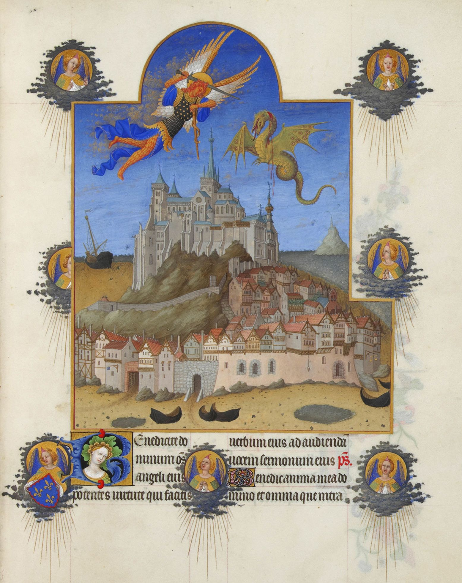Les Très Riches Heures du duc de Berry, Folio 195r - The Mass of Saint Michael the Musée Condé, Chantilly.