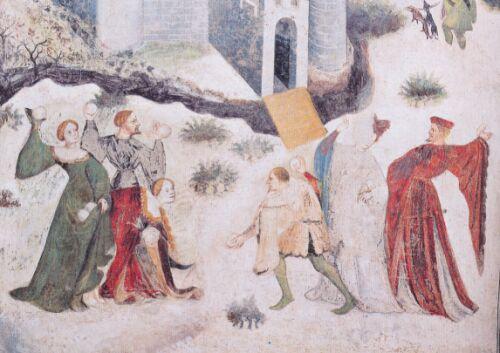 Venceslao (böhmischer Meister): Januar. Um 1400. Fresko im Torre dell'Aquila, Schloss Buonconsiglio, Trient, Italien; Detail: Schneeballschlacht