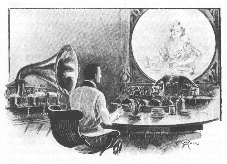 La journée d\'un journaliste américain en 2889  par Jules Verne, Illustrations de George Roux